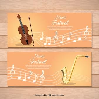 Banners de música clássica com pentagrama e violino