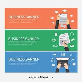 Banners de negócios com material de escritório