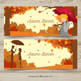 Banners de outono com personagens planos