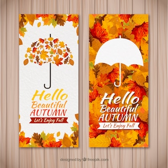 Banners de outono de aquarela com estilo moderno