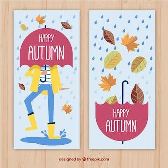 Banners de outono felizes com estilo desenhado à mão