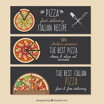 Banners de pizza com fundo preto