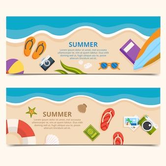 Banners de praia com elementos de verão