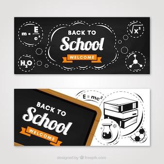 Banners de quadro negro na aula de ciências