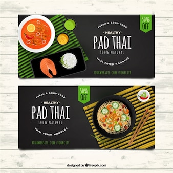 Banners de restaurantes asiáticos com ofertas