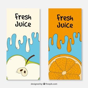 Banners de suco de frutas de maçã e laranja