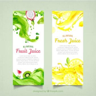 Banners de suco de frutas em estilo aquarela