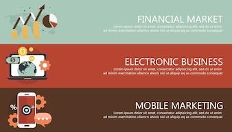 Banners de tecnologia e negócios