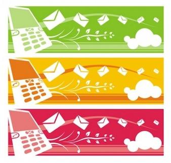Banners de telefonia móvel com secretária flutuante e elementos florais