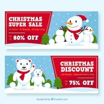 Banners de venda de Natal com bonecos de neve