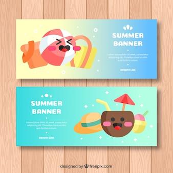 Banners de verão com personagens bonitos