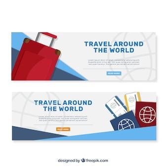 Banners de viagem com mala de viagem e passaportes