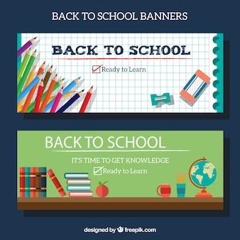 Banners de volta à escola com lápis e outros materiais