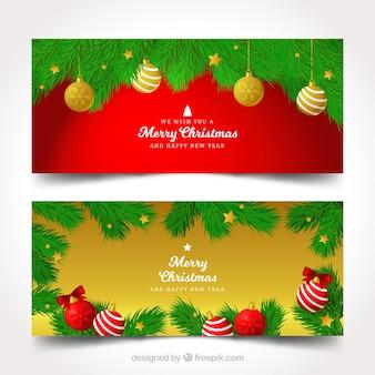 Banners decorativos de bolas de natal
