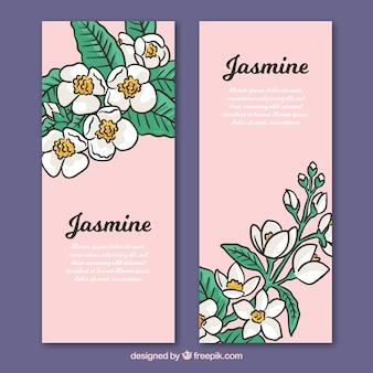 Banners desenhados a mão com jasmim