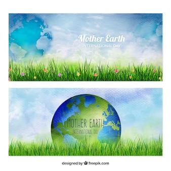 Banners dia aquarela Terra