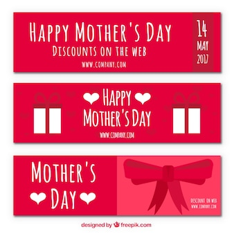 Banners dia com desconto de mãe com arco e presentes
