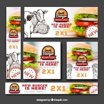 Banners divertidos com hambúrguer saboroso