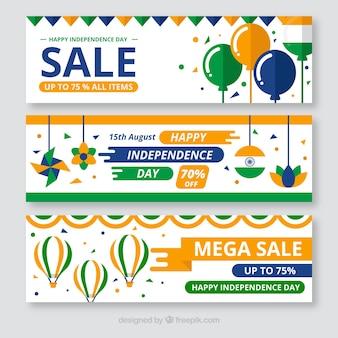 Banners do dia da independência indiano conjunto de ofertas em design plano