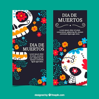 Banners do dia dos mortos coloridos