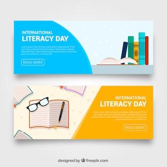 Banners do dia internacional da alfabetização