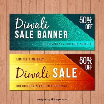 Banners do Diwali ofertas especiais