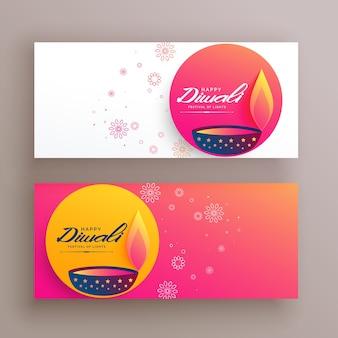 Banners do festival diwali criativo com diya e elementos decorativos