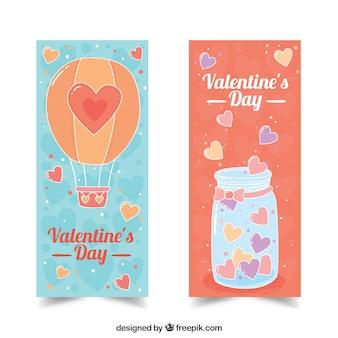 Banners dos Valentim com ilustrações bonitos
