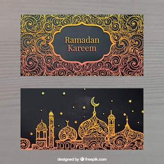 Banners dourados de kadem de ramadã