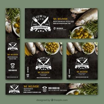 Banners elegantes com comida fresca