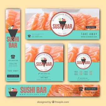 Banners elegantes com sushi