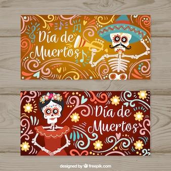 Banners engraçados com esqueletos do dia dos mortos