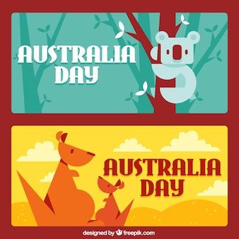 Banners fantásticos com koala e cangurus para o dia austrália