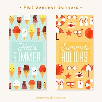 Banners fantásticos com sorvetes e objetos de verão