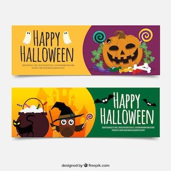 Banners felizes de Halloween com abóbora e coruja