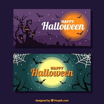 Banners felizes de Halloween com castelo e lua