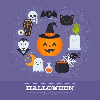Banners Flat Halloween com elementos assustadores e personagens para modelos de cartões, impressão e web design
