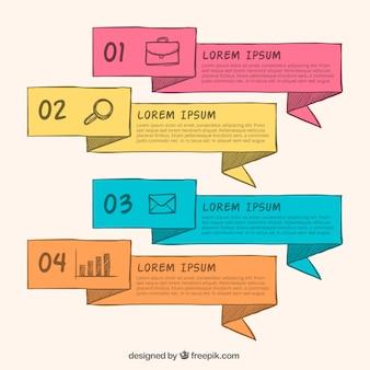 Banners infográfico desenhados à mão com formas geométricas