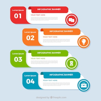 Banners infográficos multicoloridos
