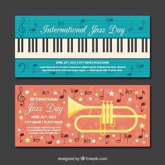 Banners jazz plana com instrumentos musicais