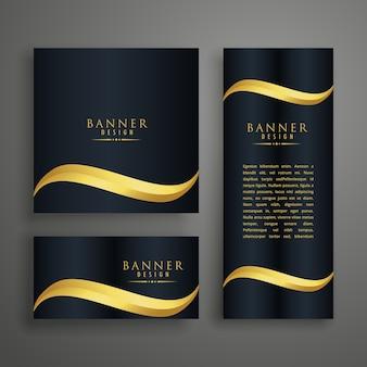 Banners limpos premium ou design de cartões com onda dourada