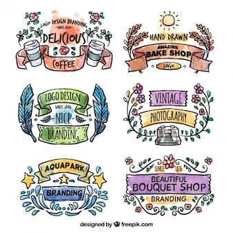 Banners logotipo da aguarela no estilo colorido