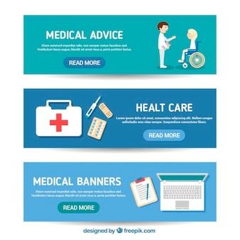 banners médicos em design plano