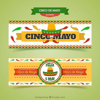 Banners mexicanos de Cinco de Mayo