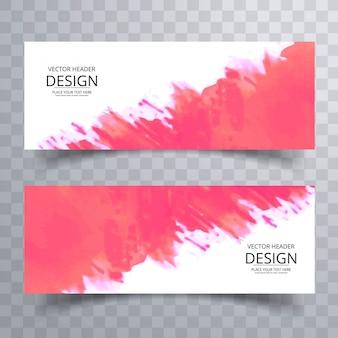 Banners modernos de aquarela rosa