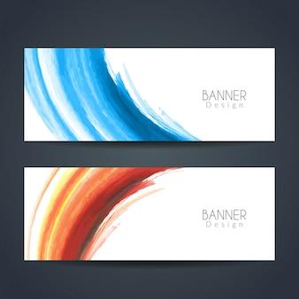 Banners modernos de aquarela