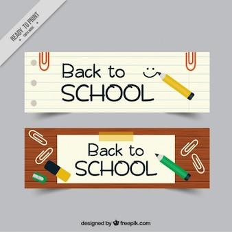 Banners para de volta à escola com lápis e grampos
