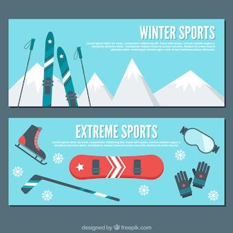 Banners plana com elementos de desportos de Inverno