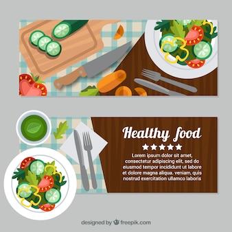 Banners planas de alimentos saudáveis