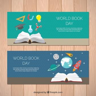 Banners pontilhada com itens planas para Dia Mundial do Livro